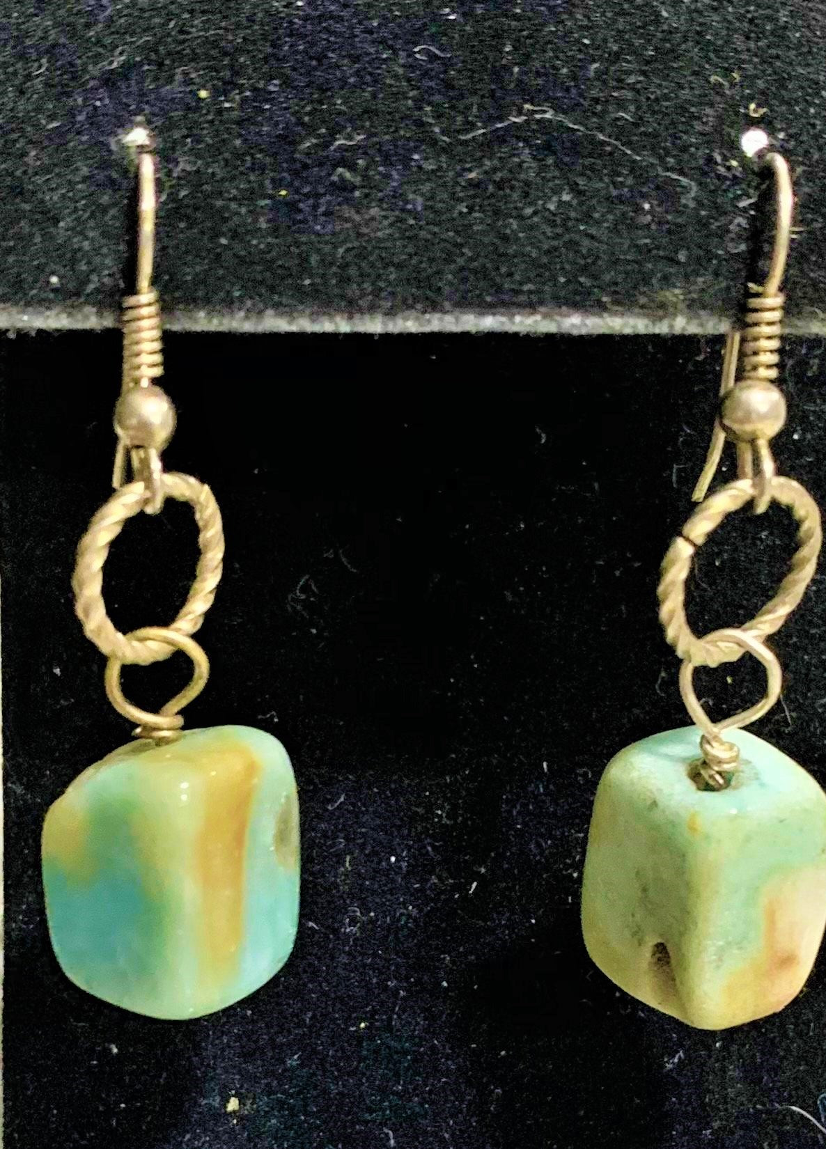 Amazonite Squares on Silver Earrings by Sarah Bernzott