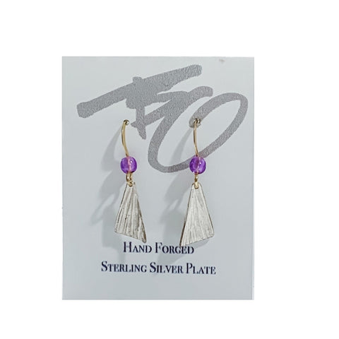 15mm x 8mm Triangular Dangles with Amethyst Beads by Brian Gilbert