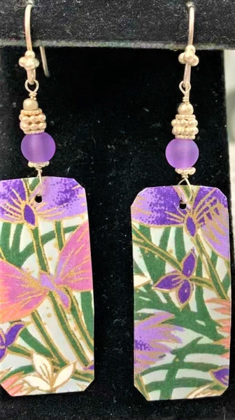 Purple Hand-cut paper with Glass and Sterling Bead Earrings