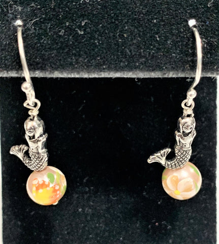 Handpainted Shell Pearl Mermaid Earrings by Marianne Bramble