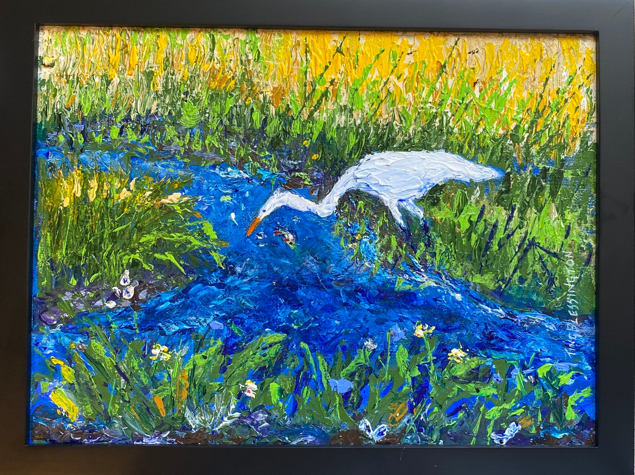 """Egret in the Marsh"" Original Acrylic by Ting Blessington"