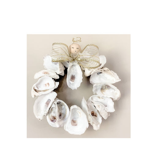 Tybee Oyster Shell Angel Mini-Wreath by Dianne Klevinski