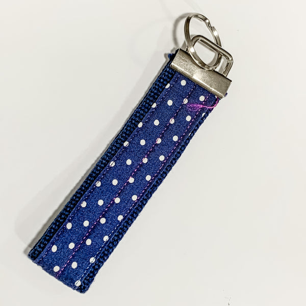 Wristlet Key Fob/Keychains - Blues/White by Jan Will
