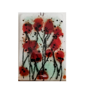 Over-Sized White Fused Glass Poppies