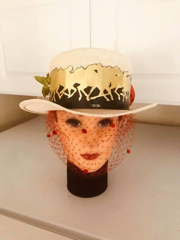 Straw Top Hat with Derby Decoration by Gena Fausel