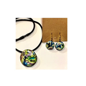 Green and Blue Multi Polymer Clay Pendant and Earring Set by Debi Scott
