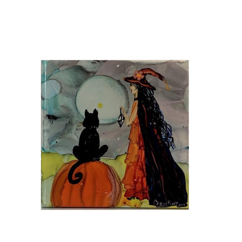 """Cat and Witch Watching Moon"" Original Alcohol Ink on Tile by Christine Bishop"