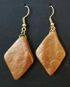 Copper Makume Gane Polymer Earrings by Cheryl Martin