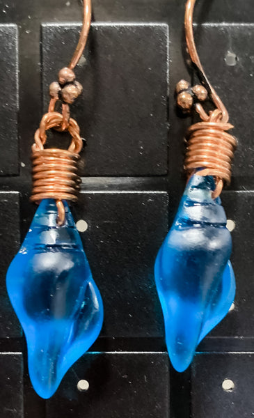 Blue Sea Glass Seashells on Copper Earrings by Sarah Bernzott