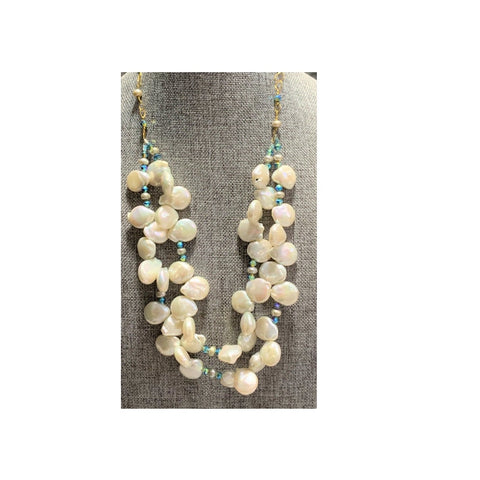 Double Strand Paddle Pearl Necklace