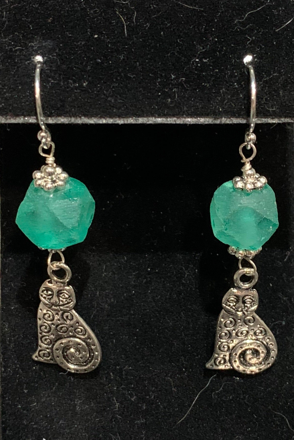 SS, Bali Glass with Pewter Cats Earrings by Jules Heerlein