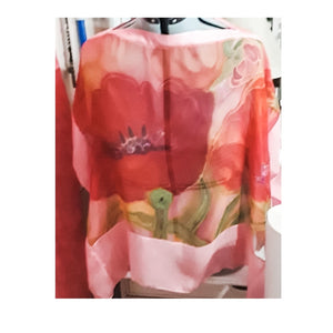 Hand-Dyed and Hand-Painted Silk Chiffon Poppy Short Tunic by Cynthia Ward