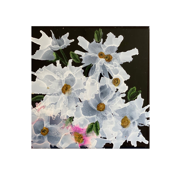 """White Daisy"" Original Alcohol Ink on Tile by Christine Bishop"