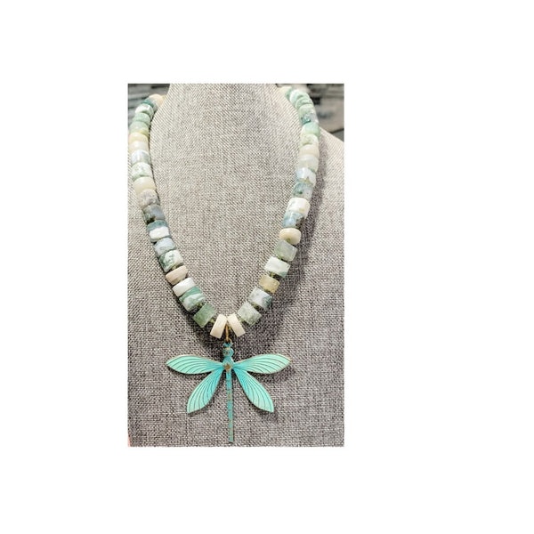Tree Agate, Moonstone, Prehnite Necklace by Marianne Bramble