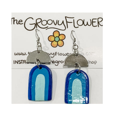 """Custom Blue Dangles with Silver Arch"" Polymer Clay Drop Earrings by Corrine Dowd"