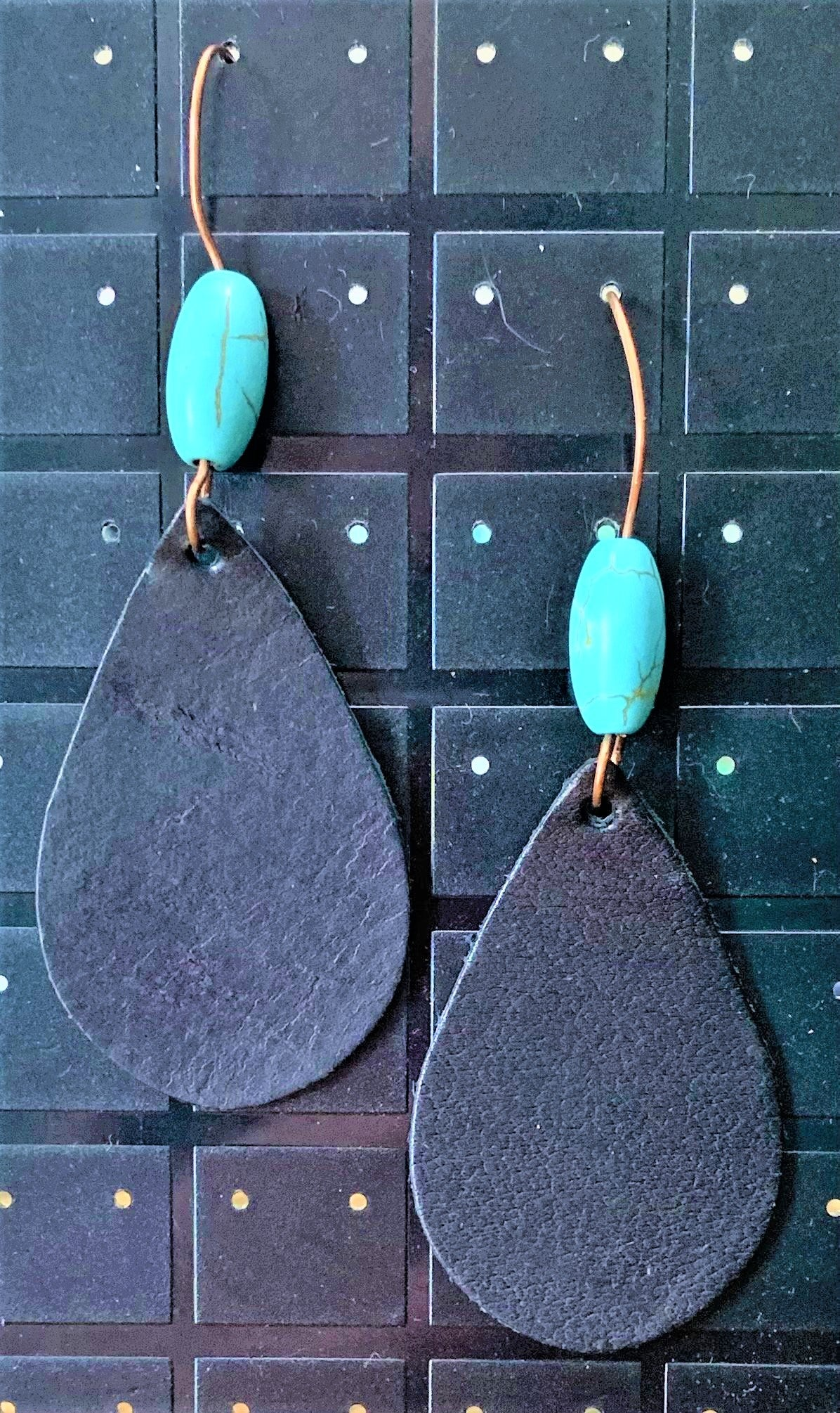 Magnesite with Leather Earrings