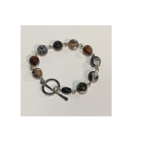 Black Multi Agate on Silver Bracelet by Sarah Bernzott
