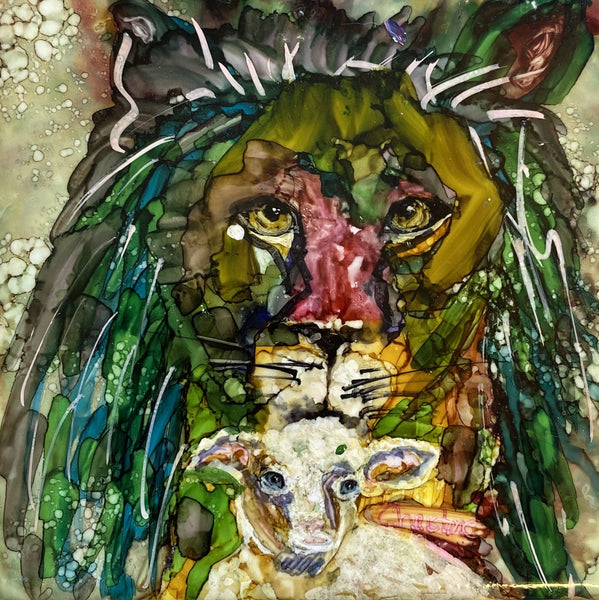"""The Lion and the Lamb"" Original Alcohol Ink on Tile by Christine Bishop"