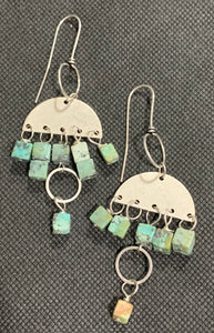 Asymmetric African Turquoise Squares on Silver by Sarah Bernzott