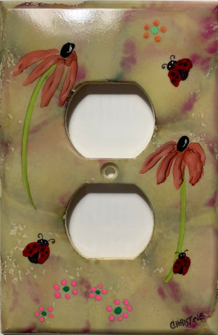 Three Lady Bugs and Flowers Outlet Cover by Christine Bishop