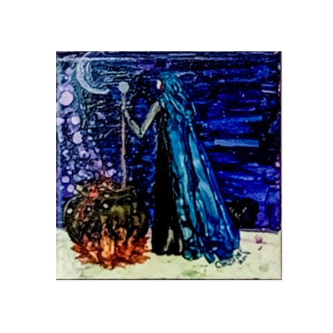 """Blue-Hooded Witch"" Original Alcohol Ink on Tile by Christine Bishop"