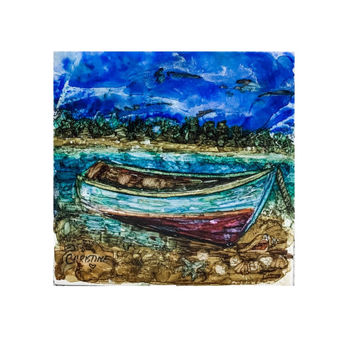"""Boat on the Beach"" Original Alcohol Ink on Tile by Christine Bishop"