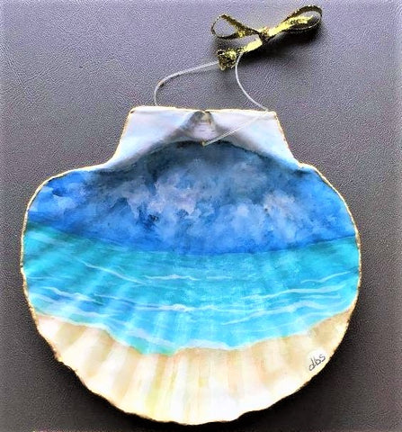 """Seaside at Tybee"" Hand Painted Scallop Shell by Debi Scott"