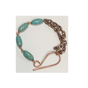 Antique Copper Chain with Hand-Wrapped Copper Magnesite Bracelet by Sarah Bernzott
