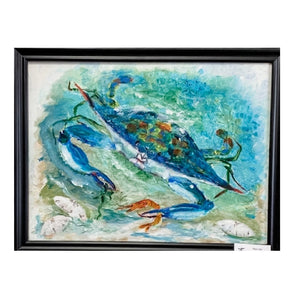 """Blue Crab"" Original Acrylic by Ting Blessington"