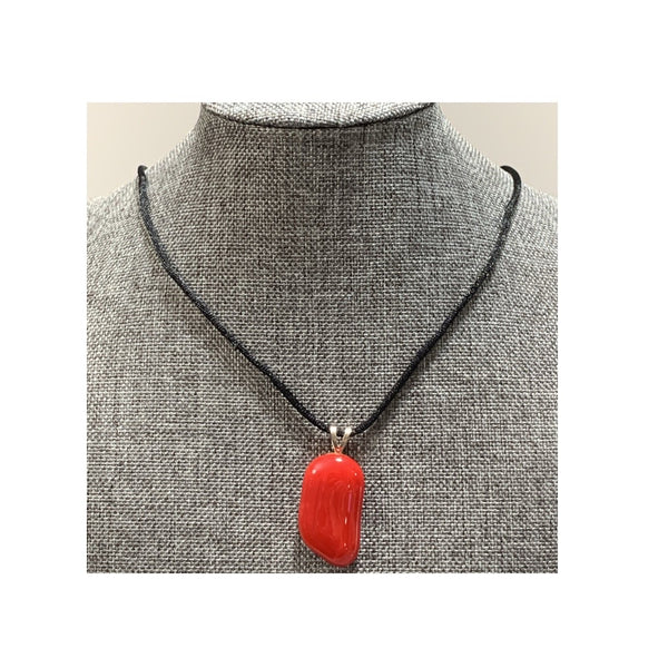 Red Nugget Hand-cut Fused Glass Necklace