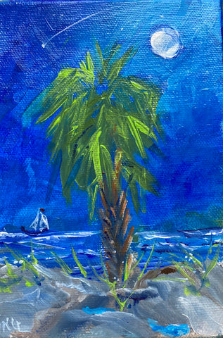 """Lone Palm II"" Original Acrylic by Ting Blessington"