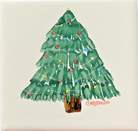 """Christmas Tree II""  Original Alcohol Ink on Tile by Christine Bishop"