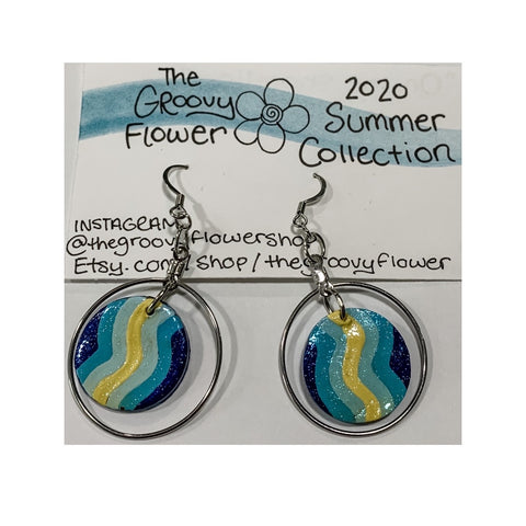 """On the Shoreline"" Polymer Clay Drop Earrings by Corrine Dowd"