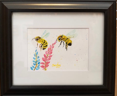 """Bees Gonna Buzz"" Original Watercolor by Christine Bishop"