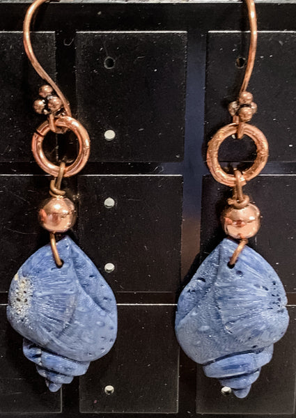 Copper and Lapiz Shell Dangles by Sarah Bernzott