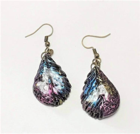 Peacock Purple/Blue mix Earrings by Debi Scott