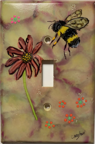 Bee and Flower Switch Cover by Christine Bishop