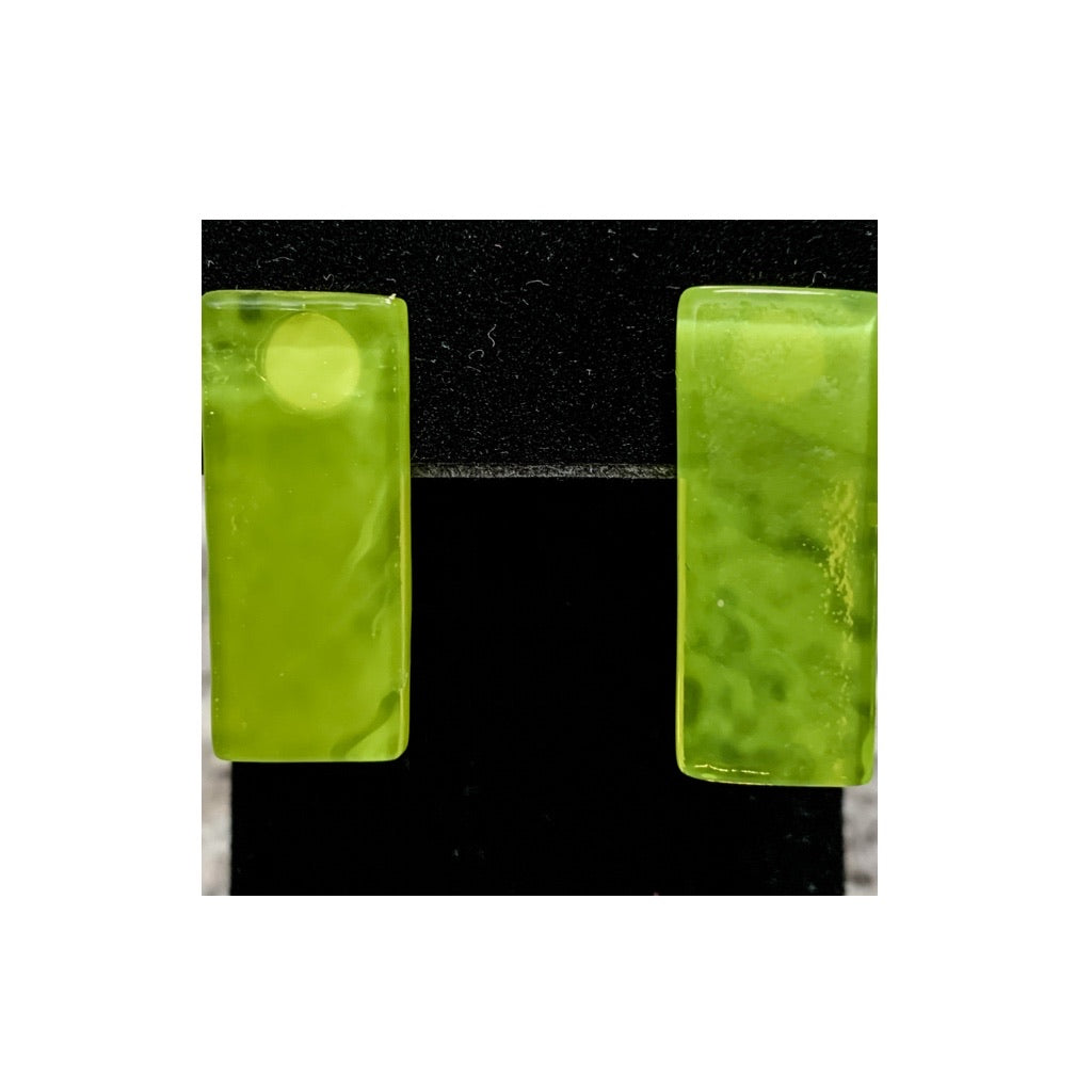 Yellow-Green Rectangular Hand-cut Fused Glass Earrings