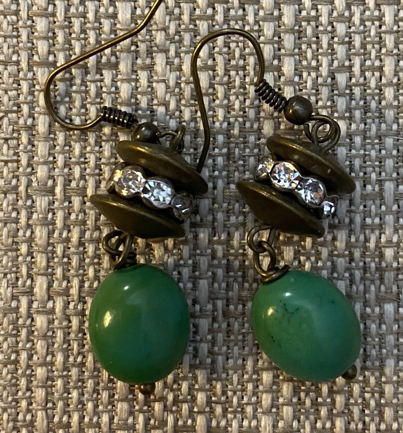 Antique Gold & Green Magnesite Earrings by Sarah Bernzott