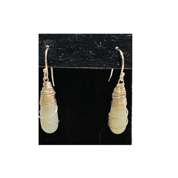 Sterling Silver Wrapped Amazonite Earrings by Marianne Bramble