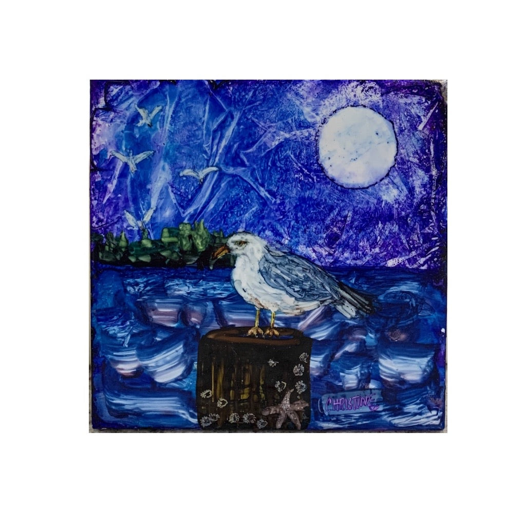 """Seagull on Mooring"" Original Alcohol Ink on Tile by Christine Bishop"