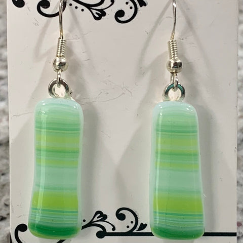 Horizontal Green/Yellow/White Stripe Glass Fused Earrings