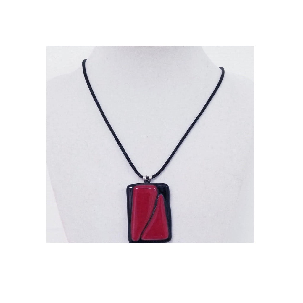 Red Rectangular Modern Chic Necklace