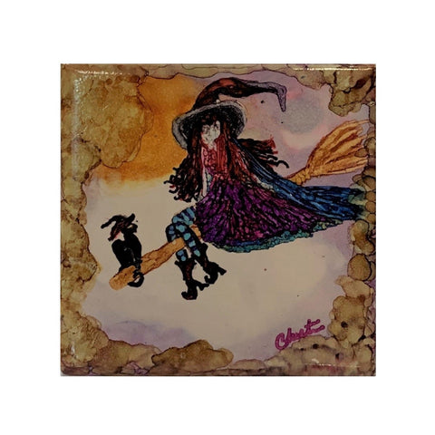 """Cat and Witch on a Broom"" Original Alcohol Ink on Tile by Christine Bishop"