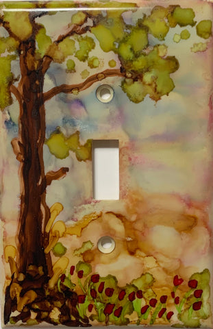 Tree and Poppies Switch Cover by Christine Bishop