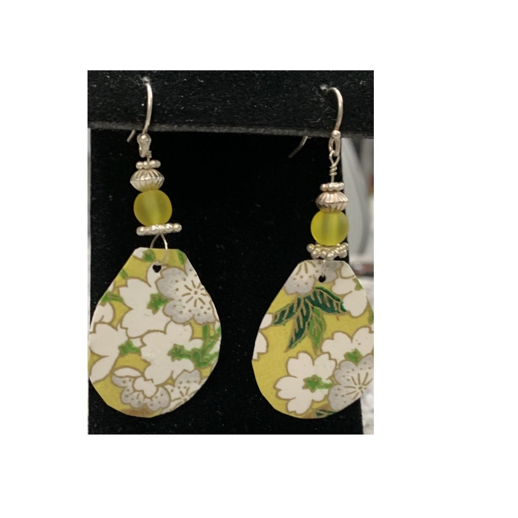 Yellow Floral Hand-cut Paper Earrings with Glass/SS Beads