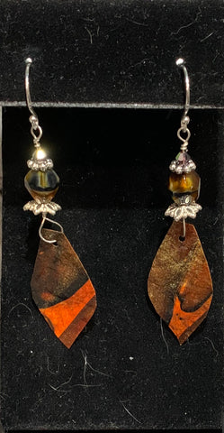Brown Hand Cut Paper Earrings