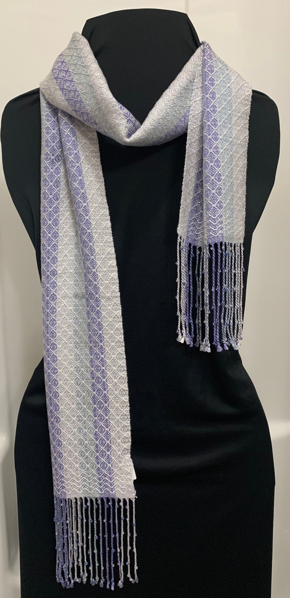 White Ovals Handwoven Dressy Tensel and Glass Beaded Scarf