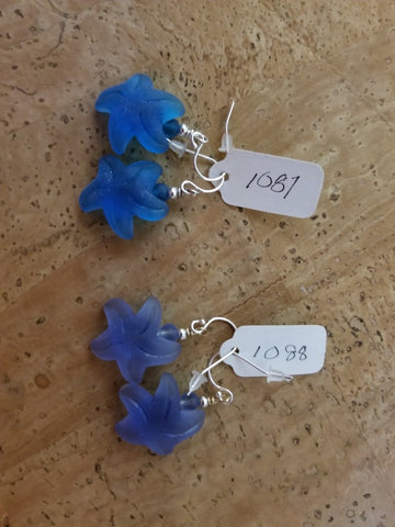 Glass Starfish and Sterling Earrings by Jules Heerlein