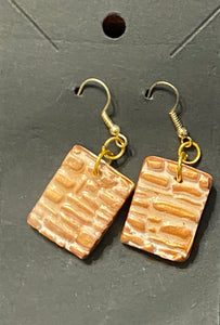 Golden Tones Makume Gane Polymer Clay Earrings by Cheryl Martin